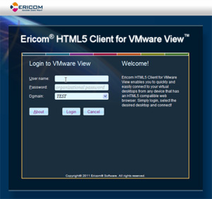HTML5 Client for VMwareView Screenshot